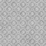 Gray and White Aum Hindu Symbol Tile Pattern Repeat Background Royalty Free Stock Images