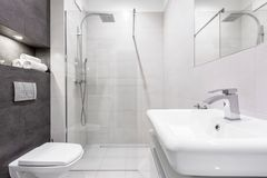 Gray and white bathroom with shower royalty free stock image