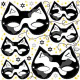 Gray white black pinto cat mask animal party disgu Stock Photo