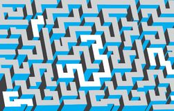 Gray, white and blue maze, labyrinth. Endless pattern. Vector art Stock Photography