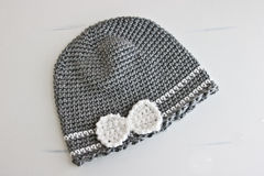 Gray and White Crocheted Hat Stock Image