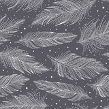 Gray and white feathers pattern hand drawn art. Gray and white feathers seamless pattern, hand drawn art, boho style, vector background vector illustration