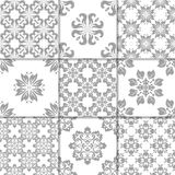 Gray and white floral ornaments. Collection of seamless patterns Stock Photo
