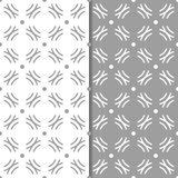 Gray and white geometric ornaments. Set of seamless patterns. For web, textile and wallpapers Stock Photography