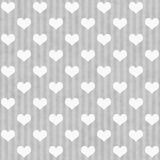Gray and White Hearts and Stripes Fabric Background Stock Images