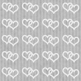 Gray and White Interlocking Hearts and Stripes Textured Fabric B Stock Photos
