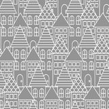 Gray and white line city seamless pattern. Royalty Free Stock Photo