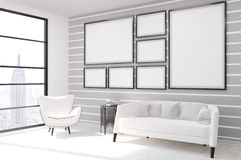 Gray and white living room. Living room in contemporary New York with picture gallery on wall, large sofa and armchair. Concept of comfy flat. 3d rendering, mock Stock Photos
