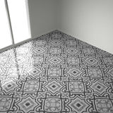 Gray and white marble floor tiles in empty room with big window, Royalty Free Stock Photo