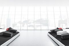 Big window airport with conveyor belt Royalty Free Stock Image