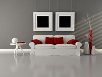 Gray white and red minimalist living room Stock Images