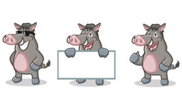 Gray Wild Pig Mascot heureux Image stock