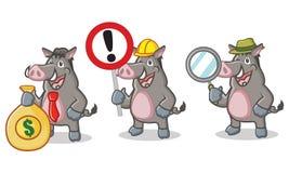 Gray Wild Pig Mascot mit Zeichen Stockfotos