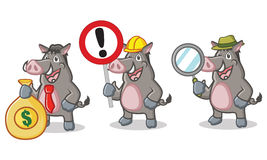Gray Wild Pig Mascot with sign Stock Photos