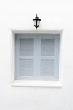 Gray windows and classic lamp Royalty Free Stock Photography