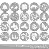 Gray winter holidays Christmas button set Stock Photos