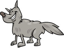 Gray wolf animal cartoon illustration Stock Photo