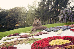 Gray wolf flower sculpture – Flower show in Ukraine, 2012. Gray wolf the personage of Slavic lullaby made of flowers at the 57th annual flower exhibition in Stock Photos
