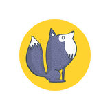 Gray Wolf and Full Moon Cartoon Character Royalty Free Stock Image