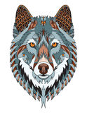 Gray wolf head zentangle stylized, vector, illustration, freehan Royalty Free Stock Photography