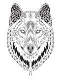 Gray wolf head zentangle stylized