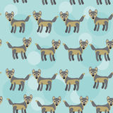 Gray wolf Seamless pattern with funny cute animal on a blue back Stock Photography