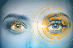Free Gray Woman S Eyes, Immersive Orange Interface Royalty Free Stock Photography - 123507467