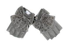 Gray women's fingerless gloves Royalty Free Stock Photos