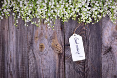Gray wooden background with a paper tag with the inscription goo Royalty Free Stock Photography