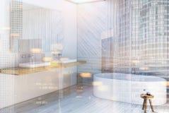 Gray wooden bathroom corner toned Stock Image