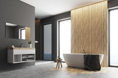 Gray and wooden bathroom corner Royalty Free Stock Photo