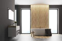 Gray and wooden bathroom interior Royalty Free Stock Photography