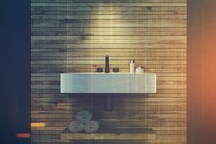 Gray and wooden bathroom, sink closeup double Stock Photo
