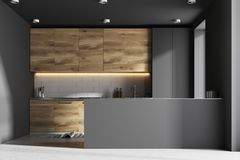 Gray and wooden kitchen interior, bar Royalty Free Stock Photography