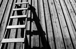 Gray Wooden Ladder Stock Images