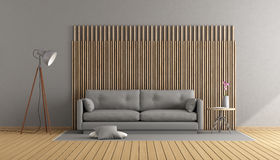 Gray and wooden living room Stock Image