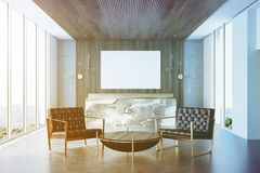 Gray and wooden office, reception, armchairs, toned Stock Photo