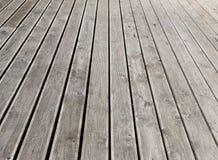 Gray wooden outdoor terrace floor Royalty Free Stock Photography