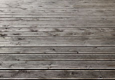 Gray wooden outdoor terrace floor Royalty Free Stock Photos