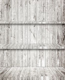Gray wooden room, floor, wall and shelves. Gray wooden room floor, wall and shelves Stock Photo