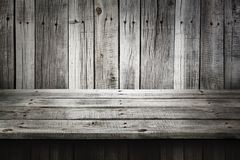 Gray wooden table for product, old dark wood perspective interior. Product montage Royalty Free Stock Image