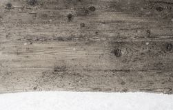 Gray Wooden Texture, Background With Copy Space, Snowflakes. Gray Wooden Texture With Copy Space For Advertisement. Natural Wood Background With Snow And royalty free stock photography