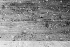 Gray Wooden Texture With Snowflakes, Background With Copy Space. Gray Wooden Texture With Copy Space For Advertisement. Natural Wood Background With Snowflakes stock photos