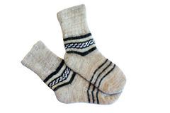 Gray wool socks. With pattern isolated on white Stock Photos
