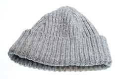Gray woolen winter hat Stock Photos