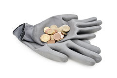 Gray work gloves isolated Stock Image
