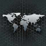 Gray world map, connecting lines and dots on black color background. Chemistry pattern, hexagonal molecule structure Royalty Free Stock Images