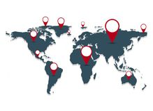 Gray world map on white background. illustration. Gray world map on white background Royalty Free Stock Photo