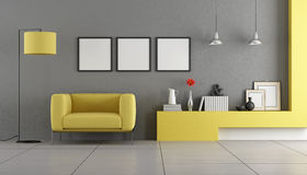 Gray and yellow contemporary living room Stock Photo