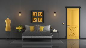 Gray and yellow master bedroom Stock Photography
